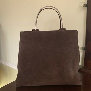 AUTH Gucci Chocolate Brown Suede Tote Bag
